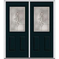 Milliken Millwork 66 in. x 81.75 in. Heirloom Master Decorative Glass 1/2 Lite Painted Fiberglass Smooth Exterior Double Door, Dark Night