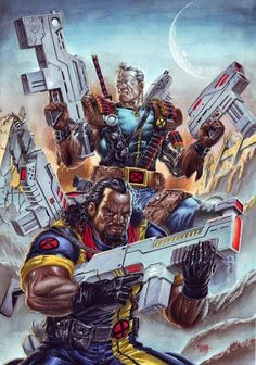 X-Men: Cable and Bishop by Edgar Tadeo Marvel Dc, Cable Marvel, Marvel Comic Universe, Marvel Heroes, Cable Xmen, Comic Book Characters, Marvel Characters, Comic Character, Comic Books Art