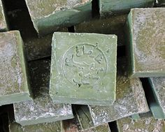 Aleppo soap is a handmade, hard bar soap associated with the city of Aleppo, Syria. Aleppo soap is classified as a Castile soap as it is a hard soap made from olive oil and lye, from which it is distinguished by the inclusion of laurel oil. Aleppo Soap, Savon Soap, Green Soap, Soap Maker, Personal Hygiene, Home Made Soap, Bar Soap, Inventions, Olive Oil