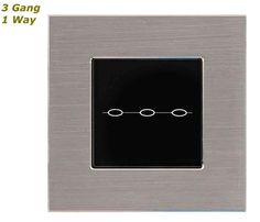 GLSTouch Designer Silver & Black Brushed Aluminium Touch Light Switch (On/Off) 3 Gang 1 Way