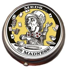 Championship rings and more!! Great Deals!! Mad Hatter Pill B... Check it out here! http://championshipringsandmore.com/products/mad-hatter-pill-box-compact-1-or-2-compartment-medicine-case?utm_campaign=social_autopilot&utm_source=pin&utm_medium=pin