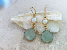 Gold Bezel Set Aqua Chalcedony and Freshwater Pearl Earrings