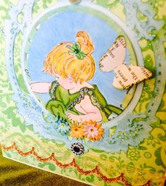 Card girl butterfly by buttonsandbottles on Etsy, $3.25