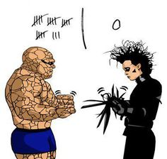 The most predictable game of rock/paper/scissors ever. #Thing #EdwardScissorhands