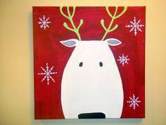 Christmas Reindeer 12x12. $30.00, via Etsy.