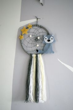 Excited to share the latest addition to my #etsy shop: Wolf dream catcher, wolf dreamcatcher, star dream catcher - nursery/bedroom decor. https://etsy.me/2GcqX1s #wolf #stars #dreamcatcher #nurserydecoration #baby