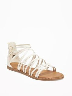 "$14.97 - Strappy Gladiator Sandals for Women - 100% synthetic materials. Spot clean. Imported. Smooth, faux-leather sandals, with gladiator-style upper straps and covered heel with zip closure. Firm, faux-leather footbed with printed logo. 1/4"" heel. Flocked rubber outsole."