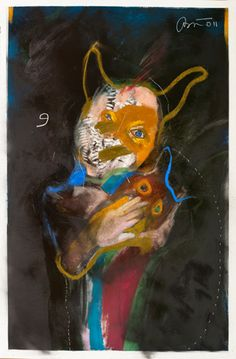 Rick  Bartow -  Mask Holding, 2011 Drawing pastel, charcoal, spray paint on paper    38 x 24.5 in
