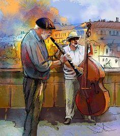 Street Musicians in Prague 01 - © 2011 Miki de Goodaboom - Painting of Street musicians on the Charles Bridge in Prague in the Czech Republic Painting Online Artworks
