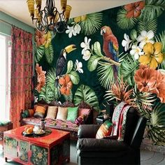 Custom Mural Wallpaper Painting Pastoral Parrot Tropical Rainforest Plant Cartoon Living Room TV Backdrop Wall Papers Home Decor Tropical Home Decor, Tropical Interior, Tropical Houses, Tropical Furniture, Tropical Colors, Plant Wallpaper, Wall Wallpaper, Tropical Wallpaper, Bedroom Wallpaper Murals
