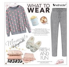 """""""What to Wear: Netflix Binge"""" by aurora-australis ❤ liked on Polyvore featuring The Hampton Popcorn Company, Sheinside, WhatToWear and polyvoreeditorial"""