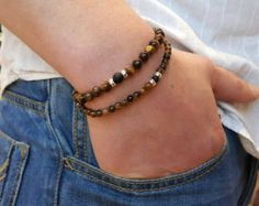 Items I Love by Tim on Etsy Stone Bracelet, Bracelet Men, Bracelets For Men, Beaded Bracelets, Shambala Bracelet, Tiger Eye Bracelet, Metal Beads, Necklace Designs, Black Onyx