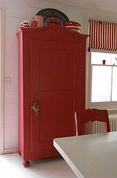 Red Cupboard With Cutesy Red Patterned Dishes On Top I Think I Want My Sewing Room To Have A Red Cabinet