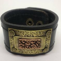 Black Leather Cuff Bracelet for women with Copper design.