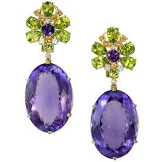 Alex Soldier Amethyst Peridot Sapphire Diamond Gold Drop Earrings One Of A Kind Purple Jewelry, Amethyst Jewelry, Amethyst Earrings, Gold Earrings, Chandelier Earrings, Diamond Drop Earrings, Circle Earrings, Diamond Studs, Sapphire Diamond