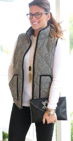 Perfect for fall! herringbone vest, tassel necklace, + monogram clutch