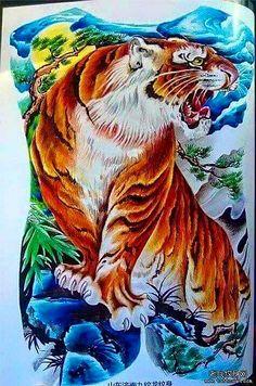 Waterproof Temporary Tattoo Sticker Koi lotus men's whole back Japan Tattoo Design, New Tattoo Designs, Japanese Tattoo Designs, Temporary Tattoo Designs, Tiger Tattoo Images, Tiger Tattoo Design, Fake Tattoos, Dog Tattoos, Body Art Tattoos