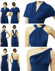 bridesmaid dress wear different ways | From top to bottom: sleeves, twist-front halter, and one-shoulder.