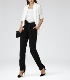 Womens Off White Open-front Jacket - Reiss Baye