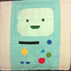 "AdventureTime:  BMO by Gretchen Kohlhaas 8"" by 8"" Paper Pieced Free from fandominstitches.com Free for personal and non-profit use only"