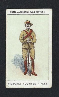 HOME & COLONIAL STORES WAR PICTURES DIFFERENT NO 79 VICTORIA MOUNTED RIFLES in Collectables, Cigarette/ Tea/ Gum Cards, Other Trade Cards | eBay Army Badges, Rifles, Different, Colonial, Victoria, Australia, War, The Originals, Pictures
