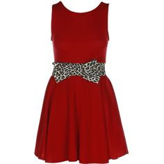 Leopard Print Bow Skater Red Dress ❤ liked on Polyvore