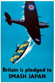 Britain Pledged to Smash Japan WWII Spitfire, 1940s - original vintage poster…