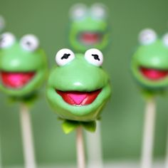 Kermit Kermit the Frog Cake Pops -  Hi-ho! It's not easy being green, but it's a piece of cake to make these tasty treats.