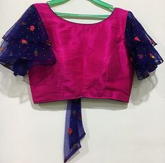 Customized Designer Blouse from Eva couture . For bookings plz DM us on Insta. Sizes available. Blouse Designs High Neck, Cutwork Blouse Designs, Best Blouse Designs, Simple Blouse Designs, Stylish Blouse Design, Bridal Blouse Designs, Blouse Designs Catalogue, Sleeves Designs For Dresses, Designer Blouse Patterns