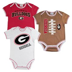 Georgia Bulldogs Newborn Boys 3pk Body Suit