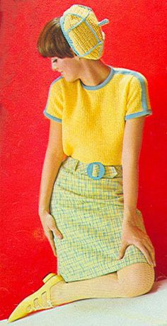 60s mod outfit skirt top shirt wool knit woven yellow blue hat flats shoes mid century