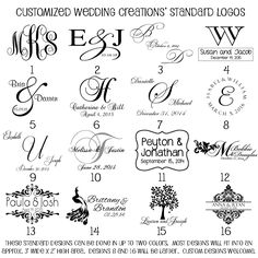 #12 Monogram Designs: These are Customized Wedding Creations current monogram offerings...