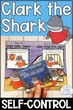 Clark the Shark activities and self-control activities for kids. Shark Activities, Emotions Activities, Social Skills Activities, Elementary School Counselor, School Counseling, Elementary Schools, Group Counseling, Speech Therapy Games, Play Therapy