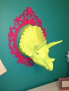 ((Because who doesn't want a taxidermy dino head for their home?)) Dinosaur Head faux taxidermy wall art High gloss Lime by brendaneg, $179.00