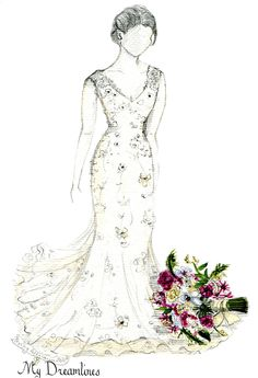 Sketch of Wedding Dress & Suit. Christmas Gift. Paper Anniversary Gifts For Her, Wedding Gifts From Groom To Bride, Bridal Shower Gift. Click here to see more:  http://www.mydreamlines.com/how-it-works/photo-gallery/ #weddingdress #wedding #anniversarygift #weddinggift