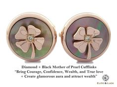 """Diamond + Black Mother of Pearl Sterling Silver Cufflinks, Rose Gold plated, Lucky Model """"Bring Courage, Confidence, Wealth, and True love + Create glamorous aura and attract wealth"""" *** Combine 2 Gemstone Powers to double your LUCK ***"""