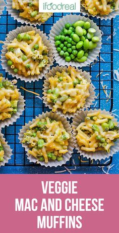 Mac and Cheese Muffins Recipe packed with vegetables like broccoli, peas, edamame, corn or cauliflower. Full of goodness and loved by kids. Healthy Family Meals, Healthy Meal Prep, Real Food Recipes, Healthy Recipes, Lunch Recipes, Pasta Recipes, Dinner Recipes, Yummy Food, Vegetarian Breakfast Recipes
