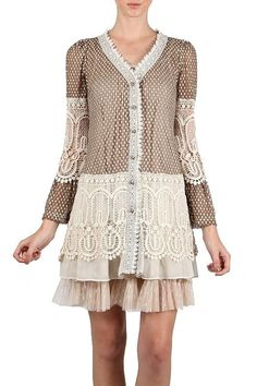 Ryu Anthropologie Brown Crochet embroidered Cardigan Bell Shaped Sleeve S M L  #Ryu #BasicJacket