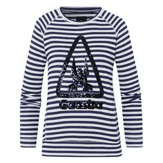 Sweatshirt Cavitate - Striped sweatshirt with intricate sequin appliqué. Perfect for creating a casual summer looks, whether at sea or in the city.