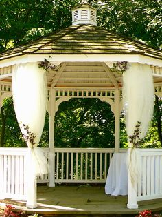 Gazebo where the ceremony was held. Spring Garden. Renaissance Westchester in White Plains by Taffeta & Tattoos.
