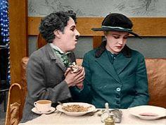Charlie Chaplin and Edna Purviance, the Immigrant, colorized. Charlie and Edna Colorized 6 Charlie Chaplin, Colorized History, Colorized Photos, Edna Purviance, Chaplin Film, Charles Spencer Chaplin, Sound Film, Silent Film Stars, Next Film