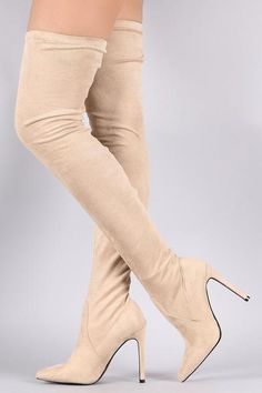 883ac8e84d5a So Me Stiletto Heel Pointy Toe FX Suede Stocking Over The Knee Boot Nude  Beige
