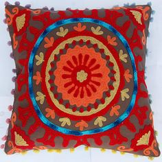 Indian Decorative Pillow Covers Handmade Woolen Embroidered Suzani Cushion Covers Rangoli Style Home Decor High Fashion Sofa Cover 16 x 16
