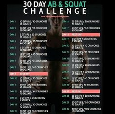 30 day challenge for your abs and booty! Perfect for beginners or even those who are a bit more advanced. Add weights (dumb bells) while squatting for more of a challenge!