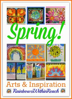 Spring Arts and Crafts for Kids, Springtime Artwork in Kindergarten and Preschool via RainbowsWithinReach Spring Arts And Crafts, Arts And Crafts Projects, Summer Crafts, Art Crafts, Spring Activities, Art Activities, Kindergarten Activities, Art For Kids, Crafts For Kids
