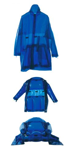 "y2kaestheticinstitute: "" 'Armchair / Jacket' from the 'Inflatables' line, by C.P. Company (2001) ""This bright blue polyurethane design could be worn as a waterproof barrier shell hooded jacket and featured magnetic buttons throughout. It could also..."
