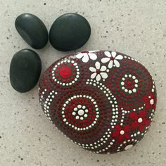 Painted Rock, Rock Art,  Mandala Inspired Design, One-of-a-Kind Accent, Floral Design, Garden Art, red touch collection #11