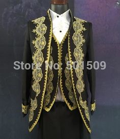 black/white golden mens period costume Medieval Renaissance stage performance/Prince charming William