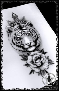 Minus the tiara Pretty Tattoos, Cute Tattoos, Unique Tattoos, Leg Tattoos, Beautiful Tattoos, Body Art Tattoos, Tattos, Tiger Tattoo Design, Tattoo Designs
