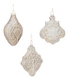 Look what I found on #zulily! Metallic Glass Ornament Set #zulilyfinds